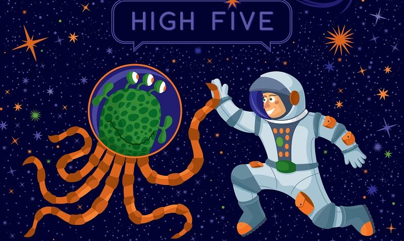 Verteilen Sie doch einmal die High Five Karten an nette Kollegen. (#01)